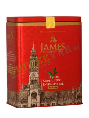 Чай James Grandfather Рекое Soure Tin. Черный, ж.б. 200 гр