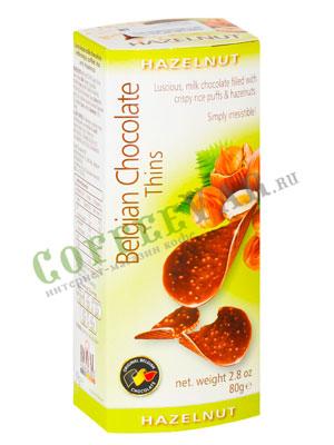 Шоколадные чипсы Belgian Chocolate Thins Лесной орех 80 гр