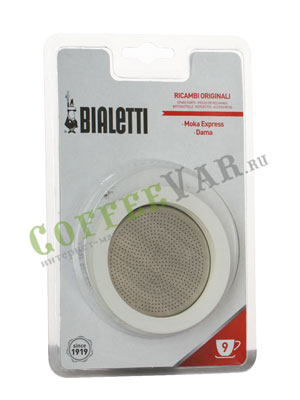Bialetti 3 уплотнителя + 1 фильтр для гейзера 9 порций