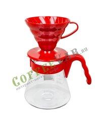 Hario Чайник с пластиковой ручкой + воронка 700 мл Красный (VCSD-02R)