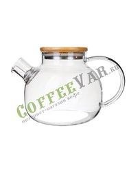 Стеклянный заварочный чайник с деревянной крышкой 1000 мл (37003)
