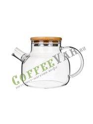 Стеклянный заварочный чайник с деревянной крышкой 500 мл (37002)