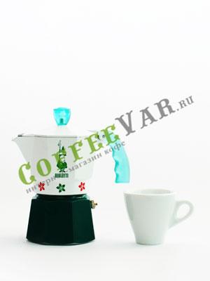 Гейзерная кофеварка Bialetti Moka Flowers Green 3 порции (120 мл)