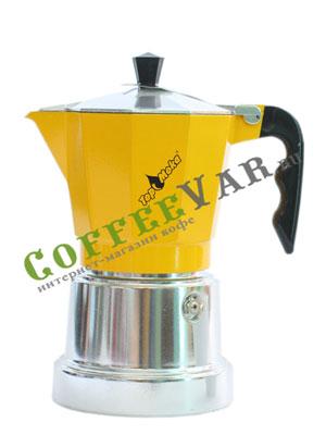 Гейзерная кофеварка Top Moka Caffettiera Top 6 порции (240 мл) золотой argento