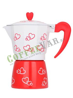 Гейзерная кофеварка Hot Сердечками на 6 порции (240 мл)
