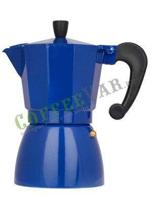 Гейзерная кофеварка Hot Синяя на 6 порции (240 мл)