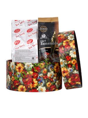 Подарочный набор в круглой коробке (чай Ти Тэнг и кофе зерновой Cafe Esmeralda)