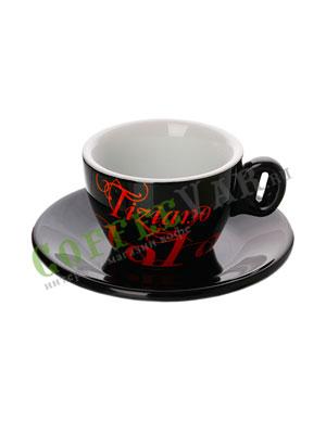 Чашка+Блюдце капучино Bristot 150 мл (черная)