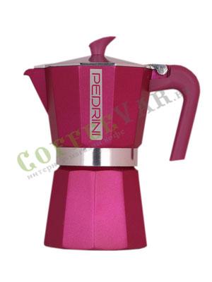 Гейзерная кофеварка Pedrini на 6 порции (240 мл) Розовая