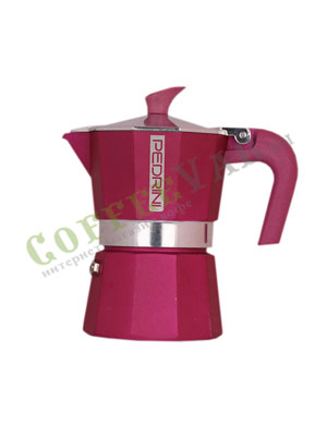 Гейзерная кофеварка Pedrini на 3 порции (120 мл) Розовая
