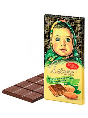 Шоколад Красный Октябрь Аленка с миндалем 100 гр