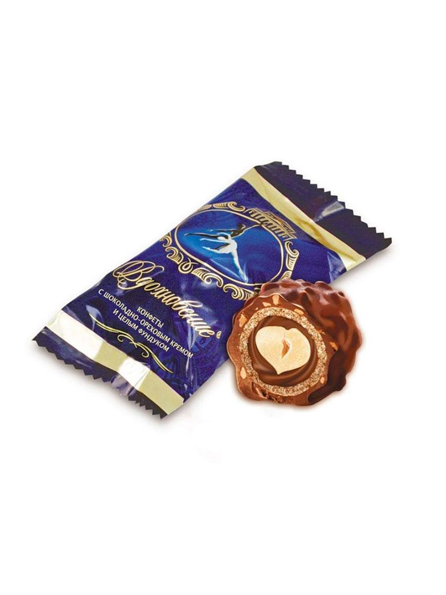 Конфеты Красный Октябрь Вдохновение с шоколадно-ореховым кремом и целым фундуком