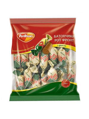 Конфеты Рот Фронт Батончики с орехами фас 250 гр
