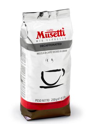 Кофе Musetti в зернах Decaffeinato 250гр